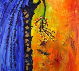 la palma femmina, 2010, acrilico su tela, 180x120